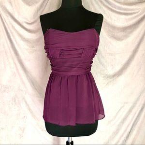 Purple strapless chiffon top by Charlotte Russe